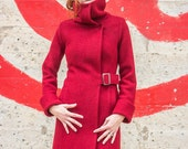 Cowl neck coat • Ruby red virgin merino boiled wool knit winter coat • made-to-order