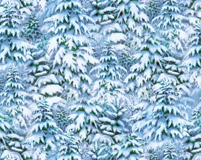 Quiet Bunny Noisy Bunny Blue Snowy Trees cotton fabric by by Lisa McCue for Wilmington Prints