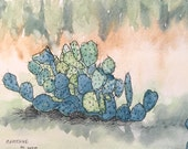 Cactus 1507-01 a 5.75x9 inch original painting, watercolor with pen & ink by Nan Henke