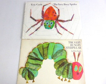 Vintage The Very Busy Spider and The Very Hungry Caterpillar- Eric Carle, Hard Cover, Dust Jacket, Soft Cover