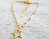Tiny Star Bracelet,  minimalist house charm jewelry, girls children kids jewelry