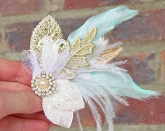 Gold, Ivory & Mint Green Feather Hair Clip for Your Gatsby Wedding