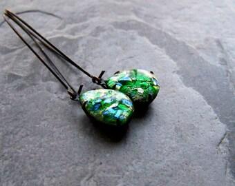 Boho Chic Jewelry-Boho Earrings-Fire Opal Earrings-Long Earrings-Dark Jewelry-Simple Earrings-Colorful Jewelry-Black Metal
