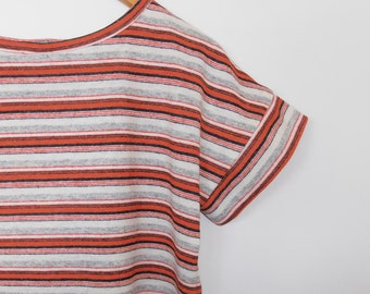 mod stripes in red, black and grey...vintage wool loose fit t shirt top
