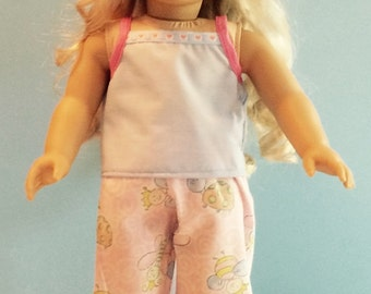 Light Blue and Pink Print Tank Style Pajamas - 18 Inch Doll Clothes