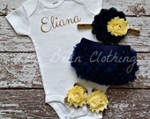 Baby Girl Take Home Outfit Newborn Baby Girl Custom Bodysuit Bloomers Headband Sandals Set Navy Yellow Gold Silver