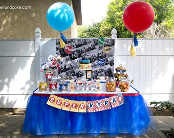 Super Comic Book Hero Birthday PRINTABLE Party Collection - You Customize EDITABLE TEXT >> Instant Download <<