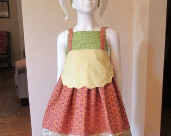 Size 6 Pinafore Dress , Woodland Dress Size 6 , Dress With Apron and Handkerchief Headband