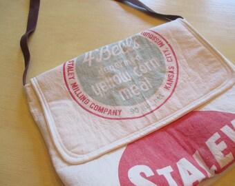 Laptop Bag , Book Bag , Vintage Feed Sack Bag , Messenger Bag