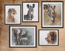 PRINTS for nursery Safari art Nursery PRINT SET watercolor painting watercolour african theme boy girl zebra giraffe cheetah lion elephant D