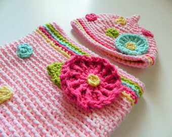 Pink Flower Cocoon Pixie Hat Set Baby Newborn Polka Dots Photo Prop vegan