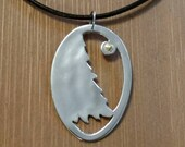 Moonlight In Alaska Sterling Silver Tree Necklace Gold Nugget
