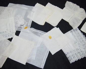 Vintage White and Ivory Tears of Joy Hankies...........Twelve