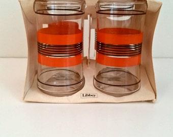 Vintage Libbey Glassware Set of 4 Orange striped Original Packaging