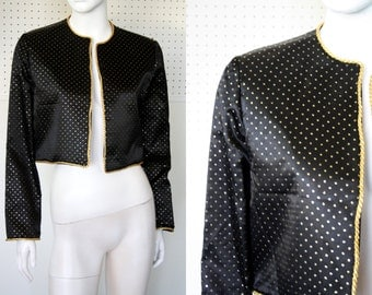 Cropped Shiny Black with Gold Polka Dots Vintage Jacket