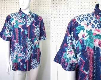 Abstract Print Vintage Button Down Short Sleeve Blouse