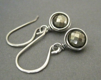 Pyrite Earrings Sterling Silver Gold Dangle Earrings Wrapped Gemstone Earrings Fall Fashion Jewelry
