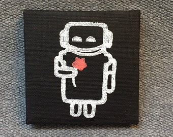 Robot Print on Mini Canvas