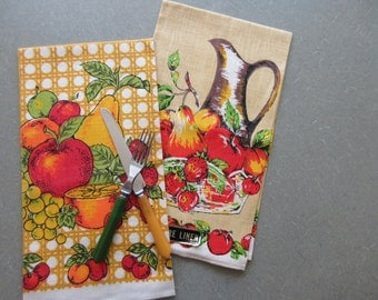 Vintage Tea Towels, Midcentury Towels, Linen Dish Towels, Fruit Towels, Apples, Pear, Grapes, Cherries, Retro Kitchen Towels, Primary Colors