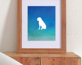 Watercolor Bright Blue Ombre Print - Dog Silhouette - 8 x 10 Print - All Dog Breeds - Watercolor - Ombre
