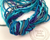 Hand Painted Silk Ribbons in Dark Teal Blue Color Palette 2mm Silk Cords