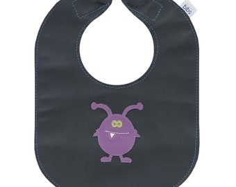Mally Bibs leather baby or toddler bib with purple monster design and pocket - can be personalized or customized