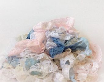 Vintage lace trim  // huge pile assorted colors // pink blue double layered pearls etc. // 80s trim