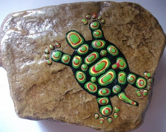 Turtle hand painted rock