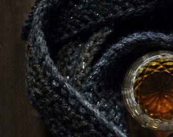 The Hazel Storyteller Scarf. Rustic Earthy Bohochic Gypsy Hand Crocheted Shimmer Skinny Wrap Scarf.
