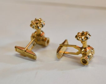 70s gold tone faucet / plumber pair of cuff links