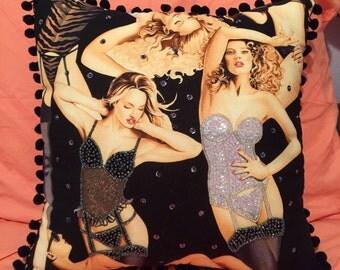 Beaded Pin Up Girls Decorative Pillow