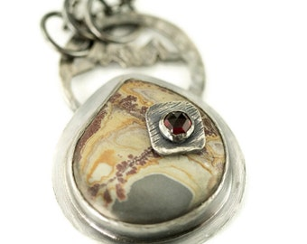 Sonoran Dendritic Rhyolite Necklace - Sterling Stone on Stone Pendant