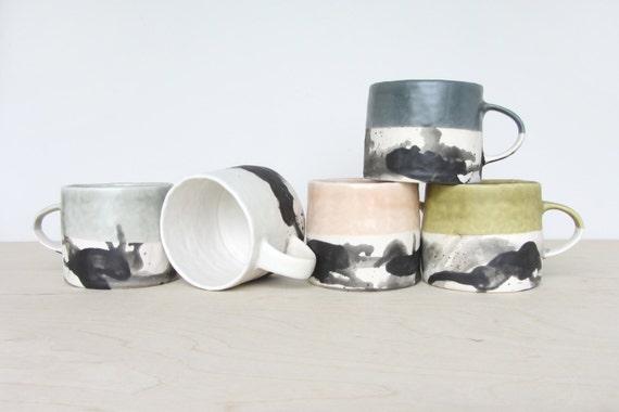 Porcelain Pinched Splatter Mug in White- Made to Order