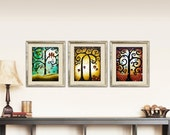 Set of 3 Tree Giclee PRINTS Rustic Wall Decor, Tree of Life Woodland Wall Art, Curly Tree Farmhouse Decor