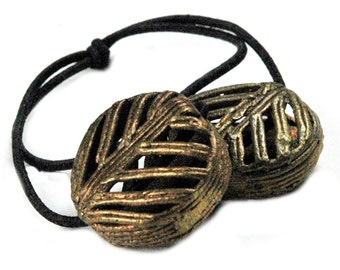 Ponytail Holder Hair Accessory, African Trade Beads - Brass
