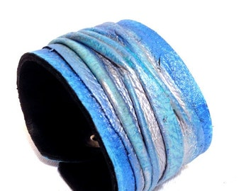 50% OFF SALE Women's blue and silver leather bracelet  Cuff  Statement Leather jewelry Fashion wristband