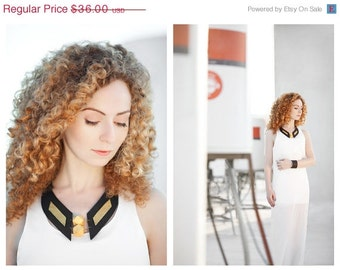"50% OFF SALE Leather bib necklace with wood beads  Leather jewelry ""Geometry of Metamorphose"" collection"