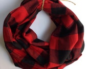 Plaid Cotton Flannel Infinity Scarf