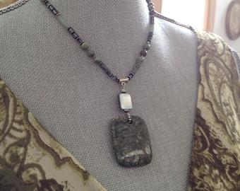green jasper mother of pearl jade pendant necklace with sterling silver- Spirit Door Necklace Lorelei Novak Jewelry