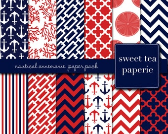 Buy2Get1Free with Code XMASINJULY! Nautical AnneMarie Digital Paper Pack (Instant Download)