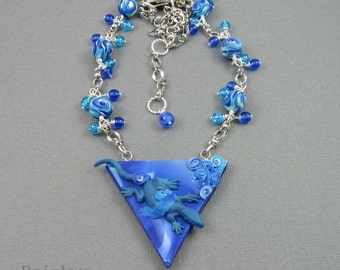 Water Element Lizard necklace, mixed media pendant with polymer clay and glass beads on silver plated chain, alchemy jewelry