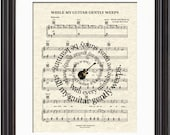 While My Guitar Gently Weeps Song Lyric Sheet Music Art Print, The Beatles Art Print, Spiral Song Lyric Art, George Harrison Song Art