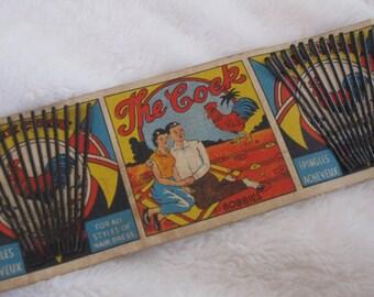 Vintage Bobbie pins, The cock . great vintage graphics