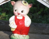 Scarce Adorable Lefton Farmer's Market Piggy Bank
