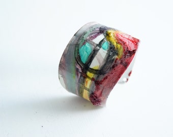 1  Hand Painted Bracelet  Sammer women Fashion In Living Color In My Dreams Abstract miniature painting Cuff