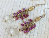 Fuchsia Pink Dangle Earrings Wire Wrap Gold Fill Clear Crystal Swarovski AB crystal Dangle Minimalist Jewelry