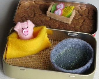 Pig miniature felt stuffed animal play set in Altoid tin with mud bath, food trough, snuggle bag and pink plush pig
