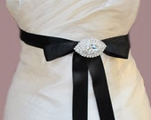 Black Bridal Belts Rhinestone Bridal Crystal Sashes Crystal Beaded Wedding  Belt Black Brooch