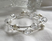 Silver and White Wrap Bracelet