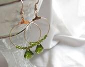 Green Crystal Hoop Dangle Earrings - Free Shipping
